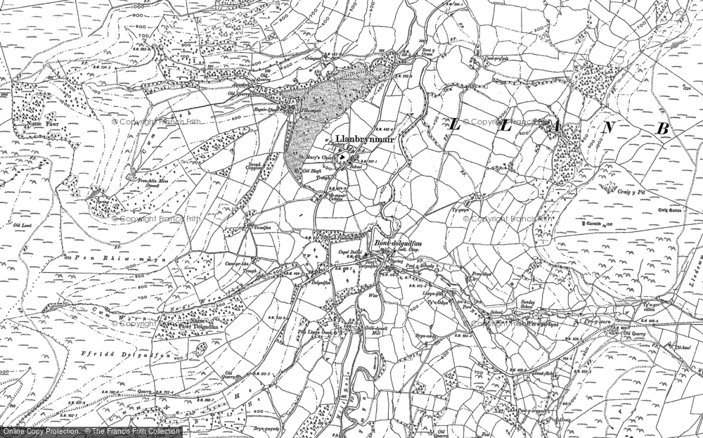 Old Map of Historic Map covering Afon Twymyn in 1886