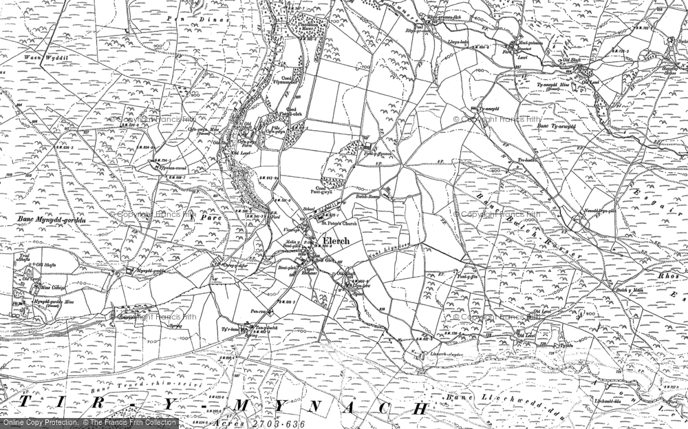 Old Map of Historic Map covering Banc Llety Ifan Hen in 1886