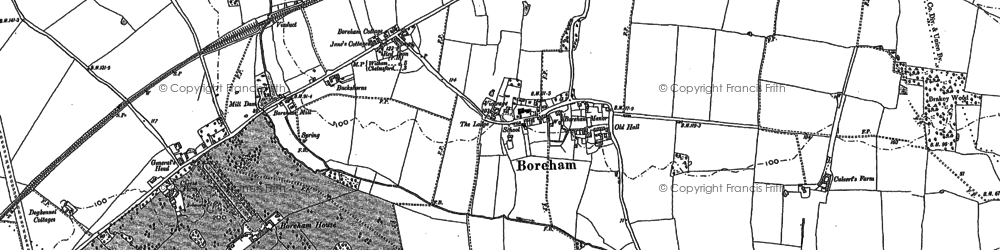 Old map of Boreham in 1895