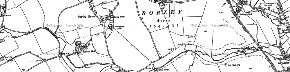 Old map of Borley in 1902
