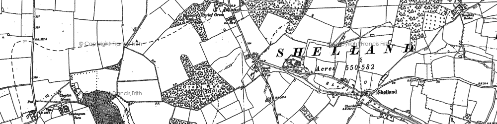 Old map of Woolpit Heath in 1883