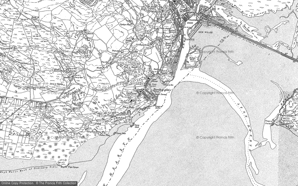 Old Map of Historic Map covering Ynys Cyngar in 1887