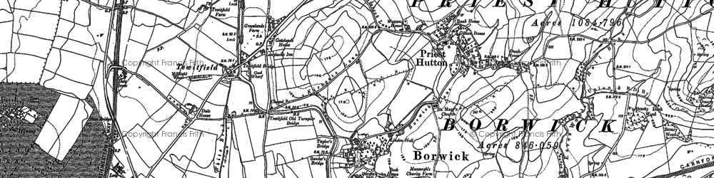 Old map of Borwick in 1910
