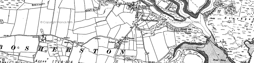 Old map of Bosherston in 1948