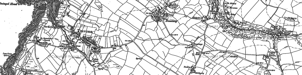 Old map of Bossiney in 1905