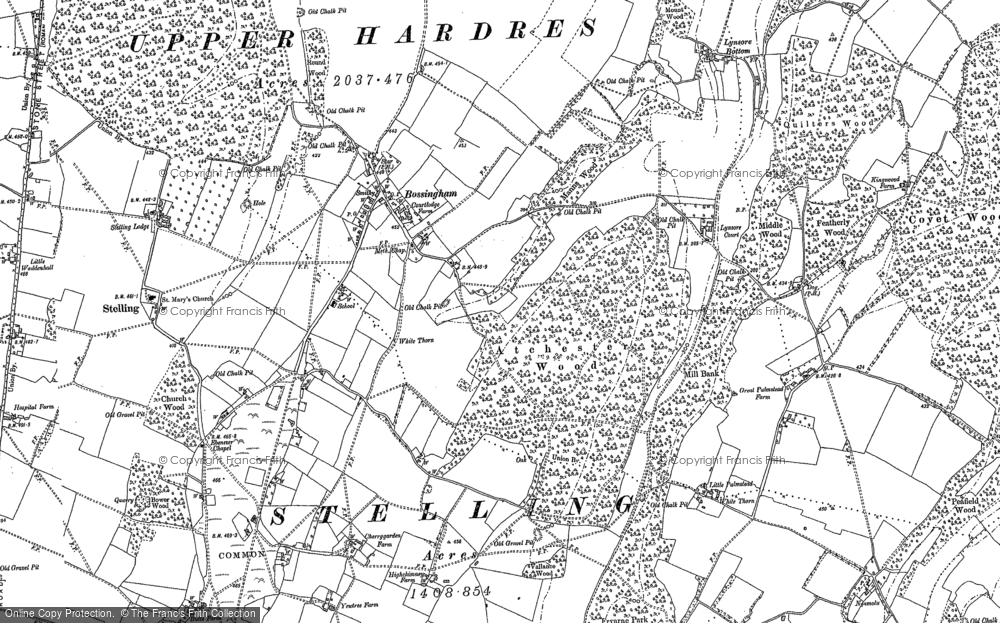 Old Map of Historic Map covering Atchester Wood in 1895