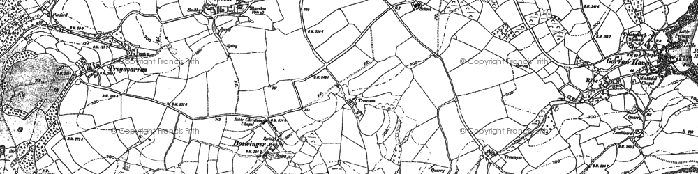 Old map of Penare in 1906