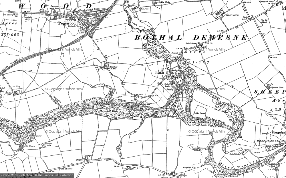 Old Map of Historic Map covering Whitefield in 1896