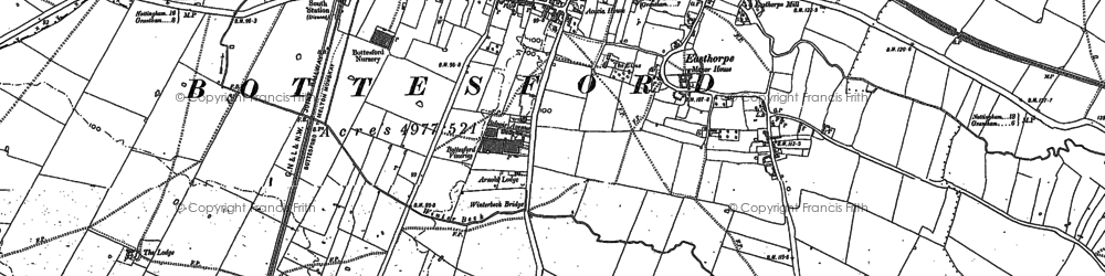 Old map of Bottesford in 1885