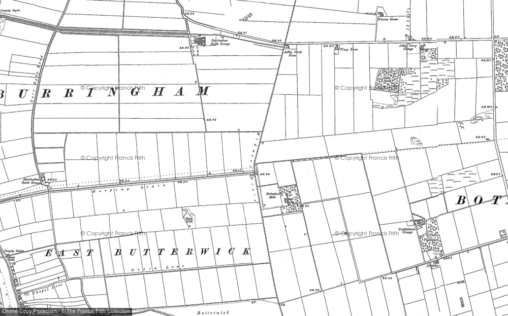 Old Map of Historic Map covering Ashby Decoy in 1885