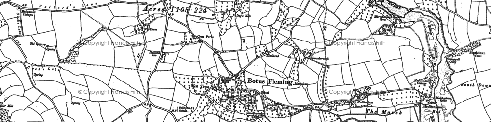 Old map of Botusfleming in 1865