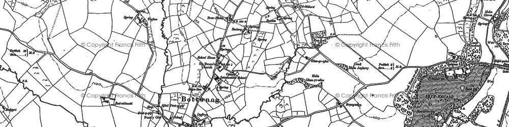 Old map of Botwnnog in 1888