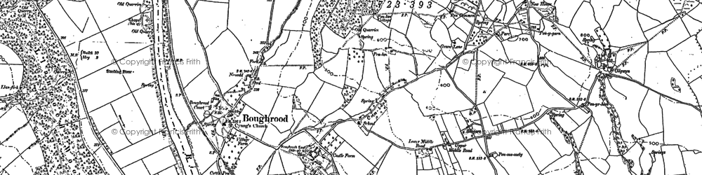 Old map of Boughrood Brest in 1887