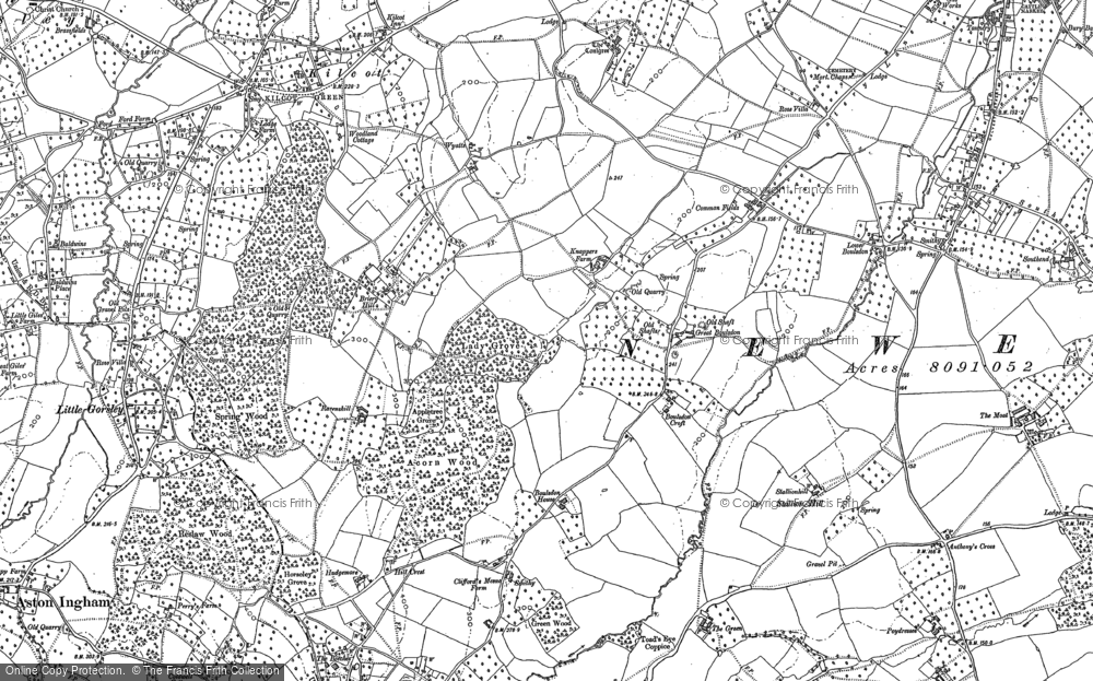 Old Map of Historic Map covering Acorn Wood in 1882
