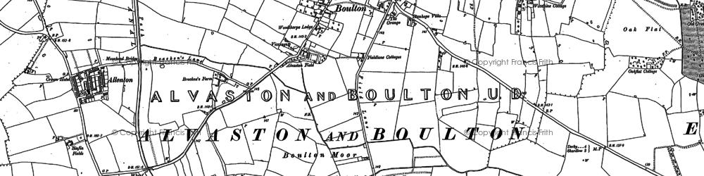 Old map of Boulton Moor in 1881