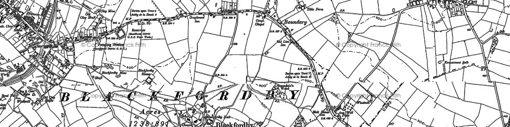 Old map of Boundary in 1900