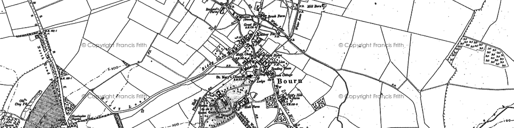 Old map of Bourn in 1886