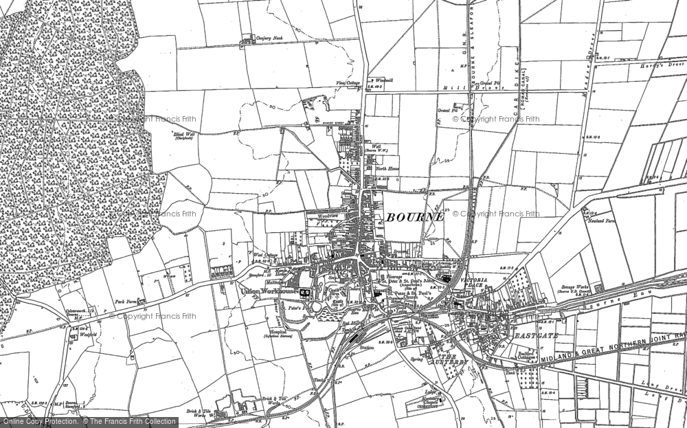 Old Map of Bourne, 1886 in 1886