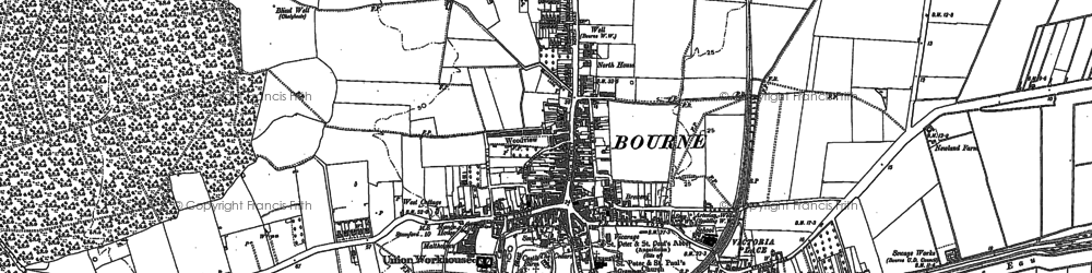Old map of Bourne in 1886