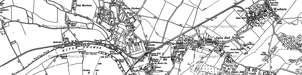 Old map of Bourne End in 1897