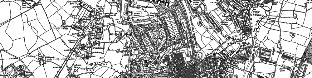 Old map of Bournville in 1882