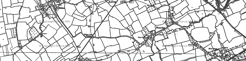 Old map of Bourton in 1900