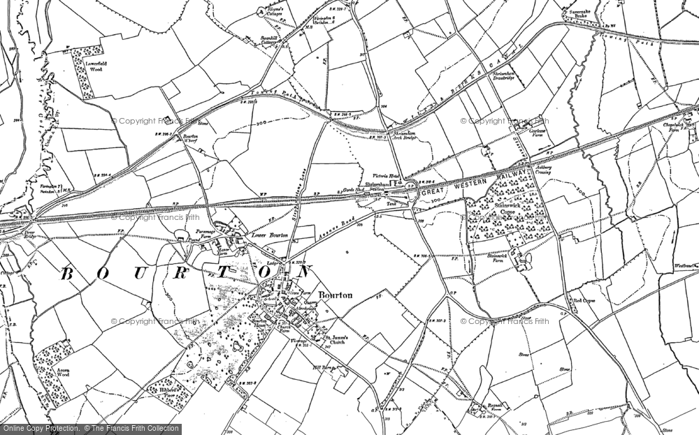 Old Map of Bourton, 1910 - 1922 in 1910