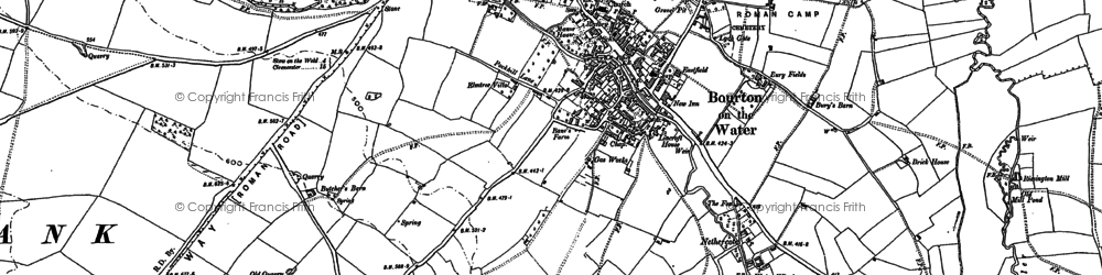 Old map of Bourton-on-the-Water in 1883