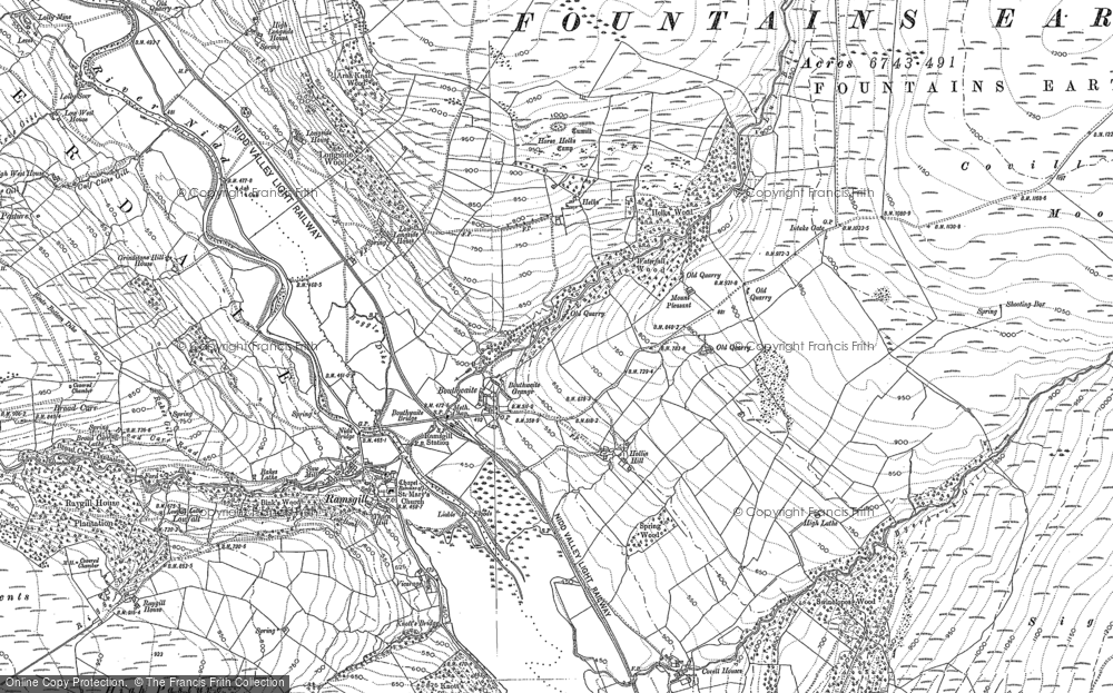 Old Map of Historic Map covering Light Hill in 1907