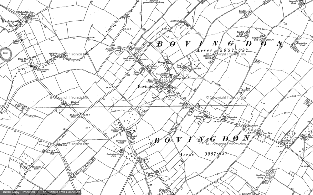 Old Map of Historic Map covering Bovingdon Green in 1897