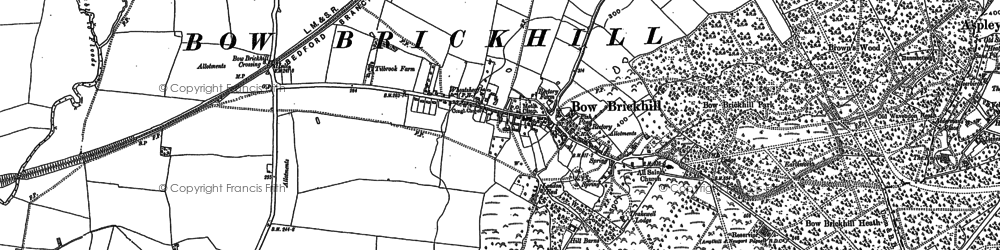 Old map of Bow Brickhill in 1900