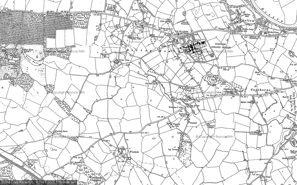 Old Map of Historic Map covering Ley Grange in 1881