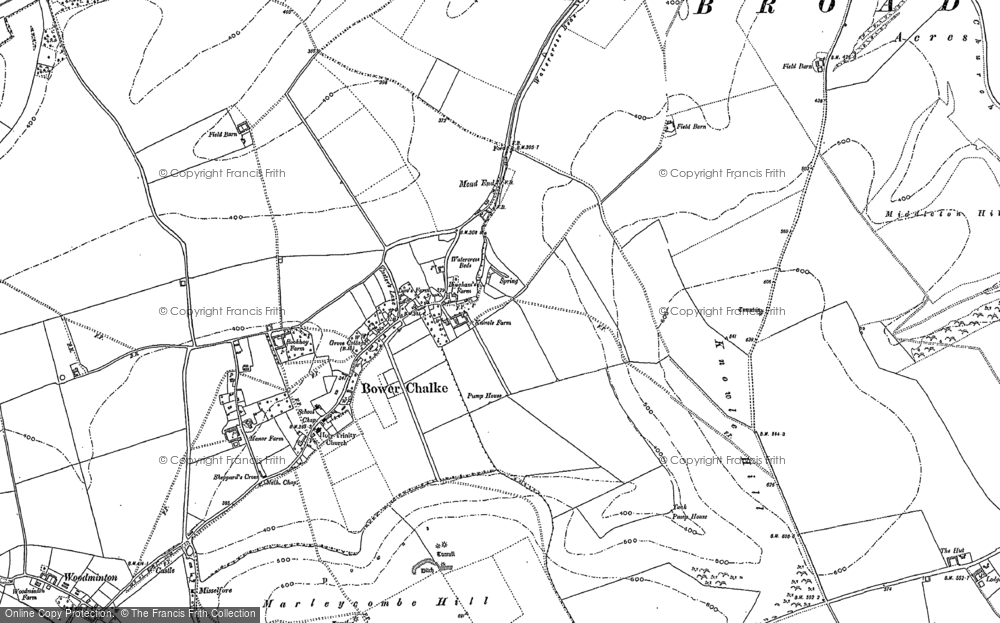 Old Map of Historic Map covering Woodminton Down in 1900