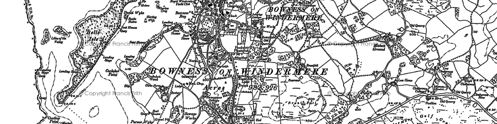 Old map of Bowness-On-Windermere in 1912