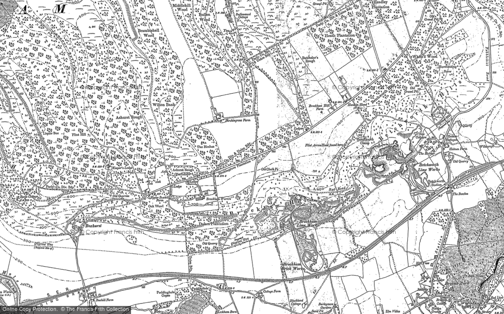 Old Map of Historic Map covering Ashurst Rough in 1895