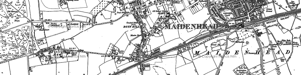 Old map of Boyn Hill in 1910