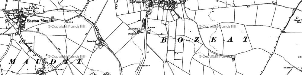 Old map of Bozeat in 1899