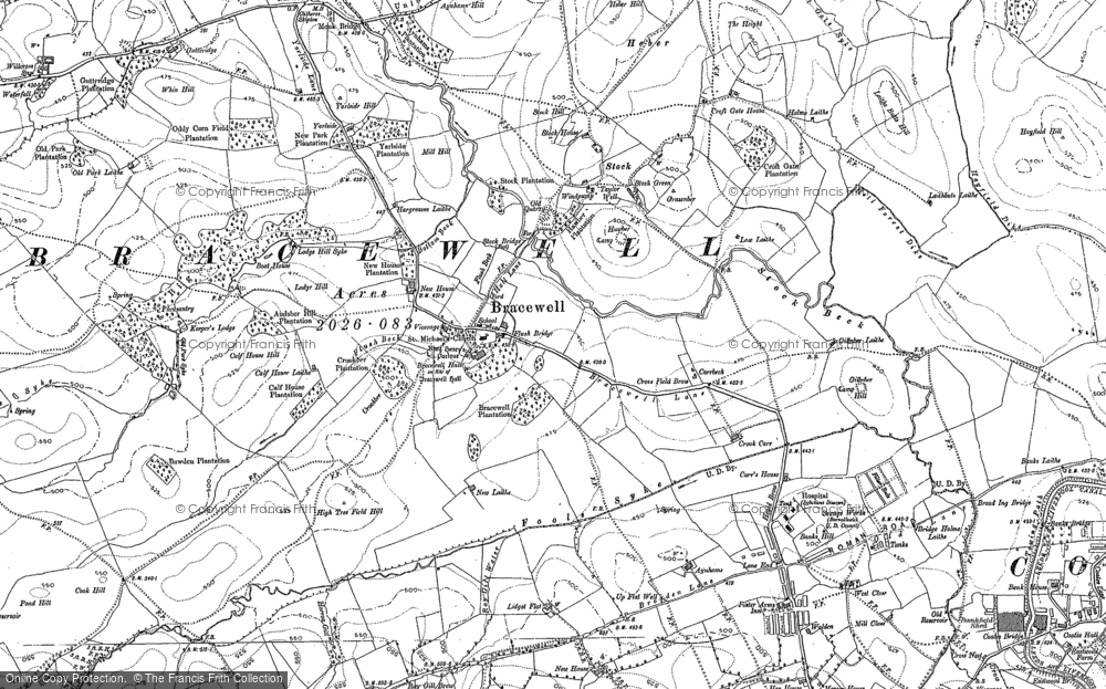 Old Map of Bracewell, 1892 in 1892