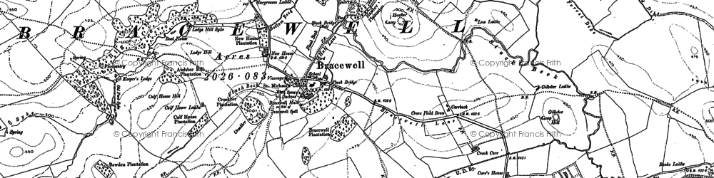 Old map of Bracewell in 1892