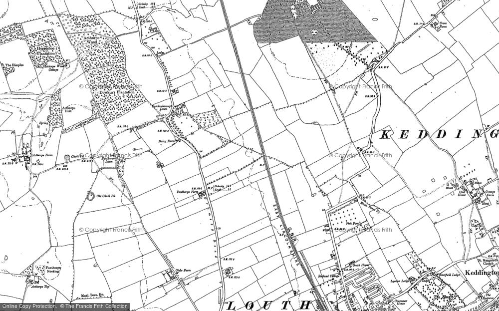 Old Map of Brackenborough Lawn, 1886 in 1886