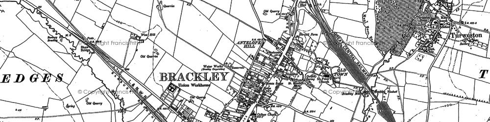 Old map of Brackley in 1883