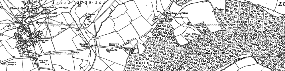 Old map of Wetley's Wood in 1883
