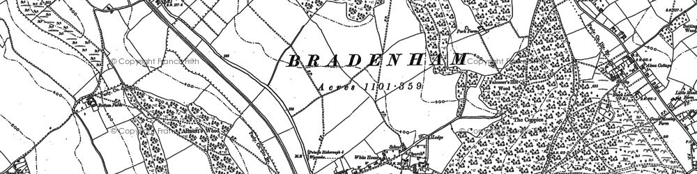 Old map of Bradenham in 1897