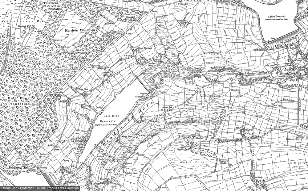 Old Map of Historic Map covering Agden Bridge in 1901