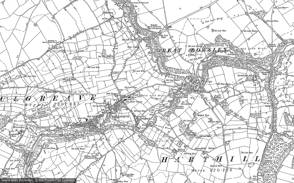 Old Map of Historic Map covering Youlgreave in 1878