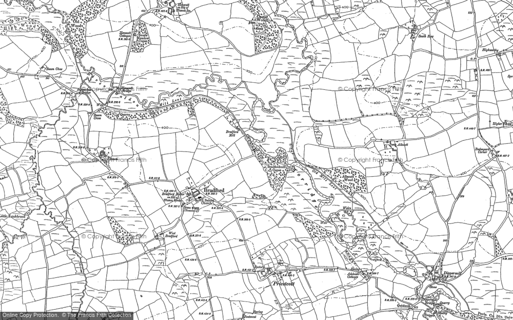 Old Map of Historic Map covering Allacott in 1883