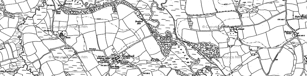 Old map of Allacott in 1883