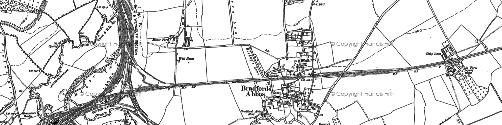 Old map of Bradford Abbas in 1901