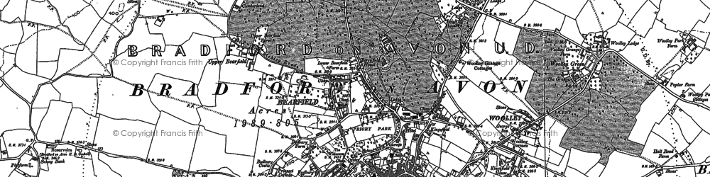 Old map of Woolley in 1922
