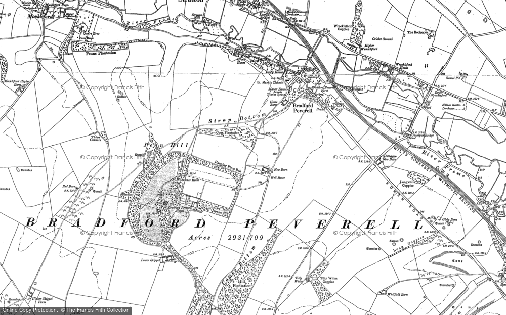Old Map of Historic Map covering Tilly Whim in 1886